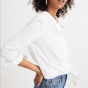 Madewell White Tie Front Shirt Top